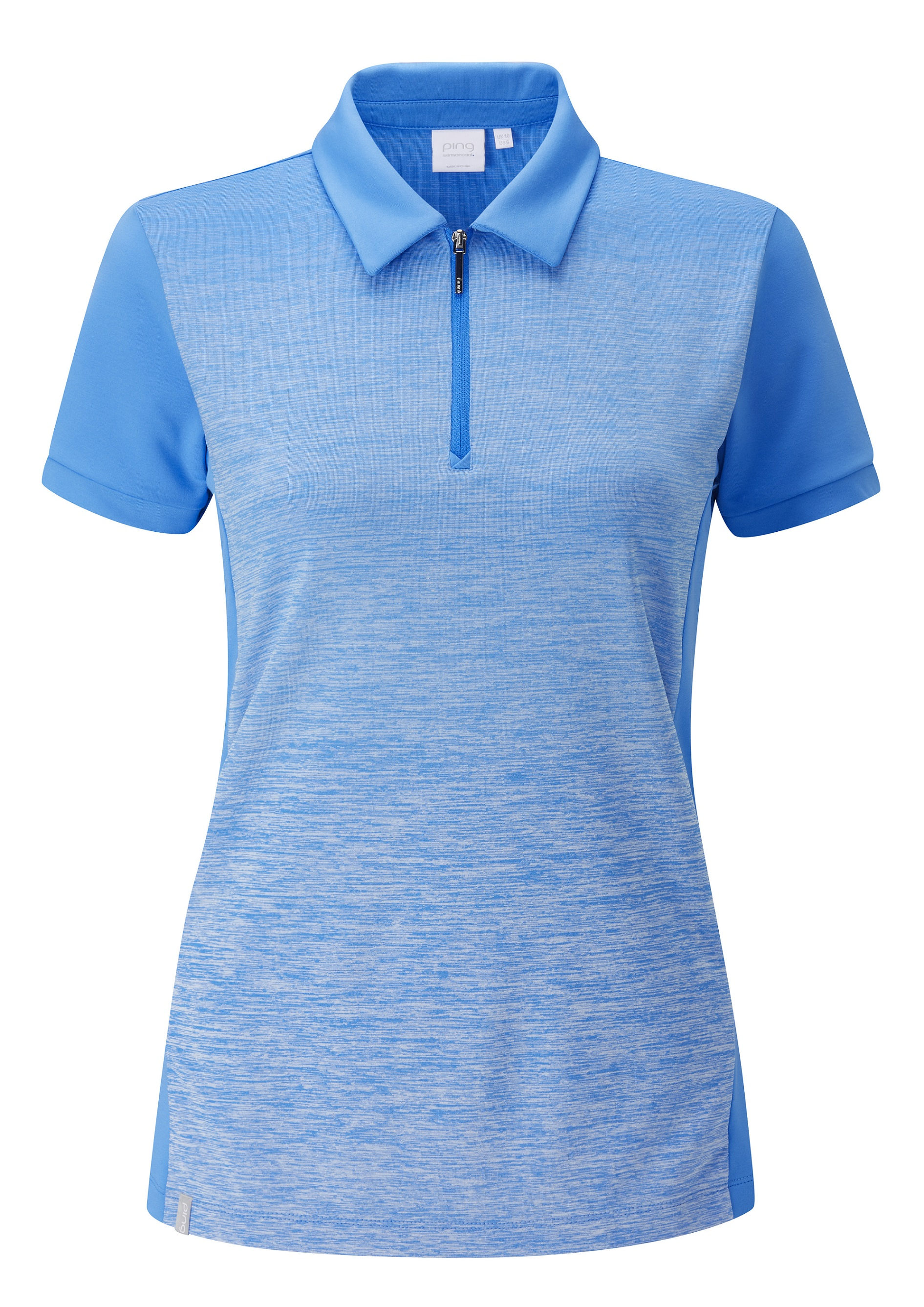 Svalkande vår/sommar-kollektioner från Ping - Dusk. Yarn-dyed gradient polo shirt with zip-neck opening. It features permanent moisture moving, quick drying and stretch properties. UPF 50+.