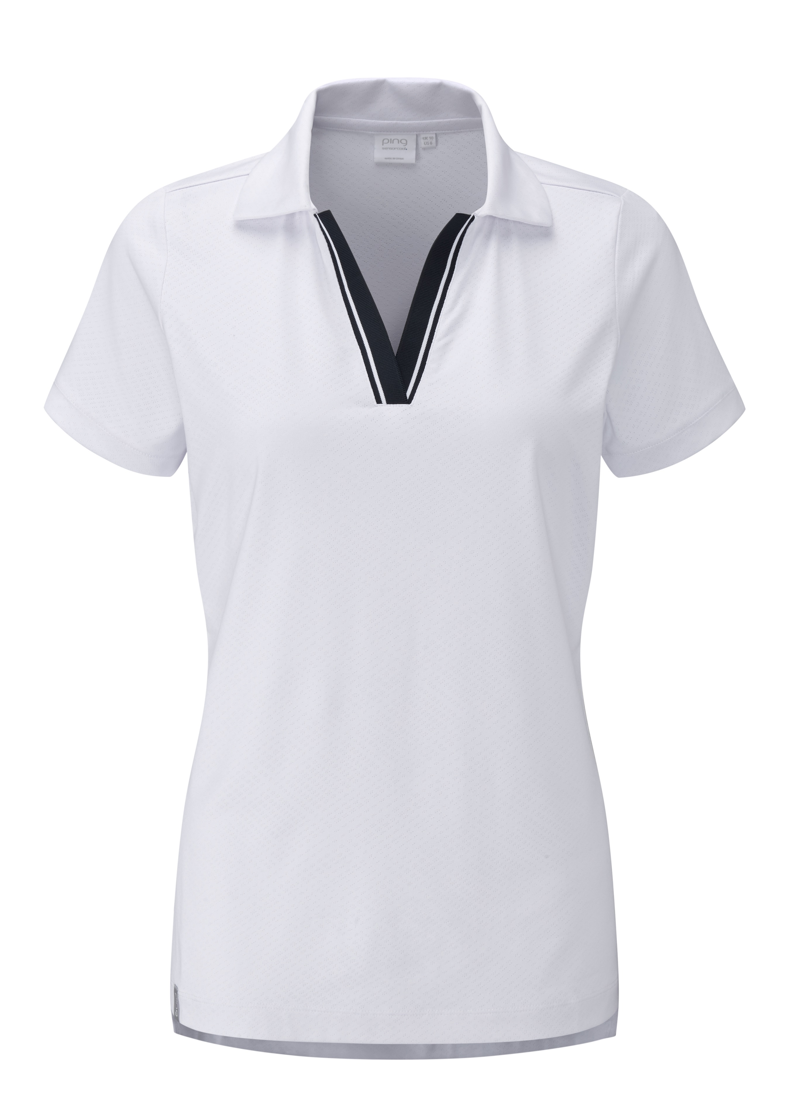 Svalkande vår/sommar-kollektioner från Ping - Hummingbird. Textured polo with tipped rib detail and a longer back hem with side splits. Also features permanent moisture moving, quick drying and stretch properties. UPF 50+.