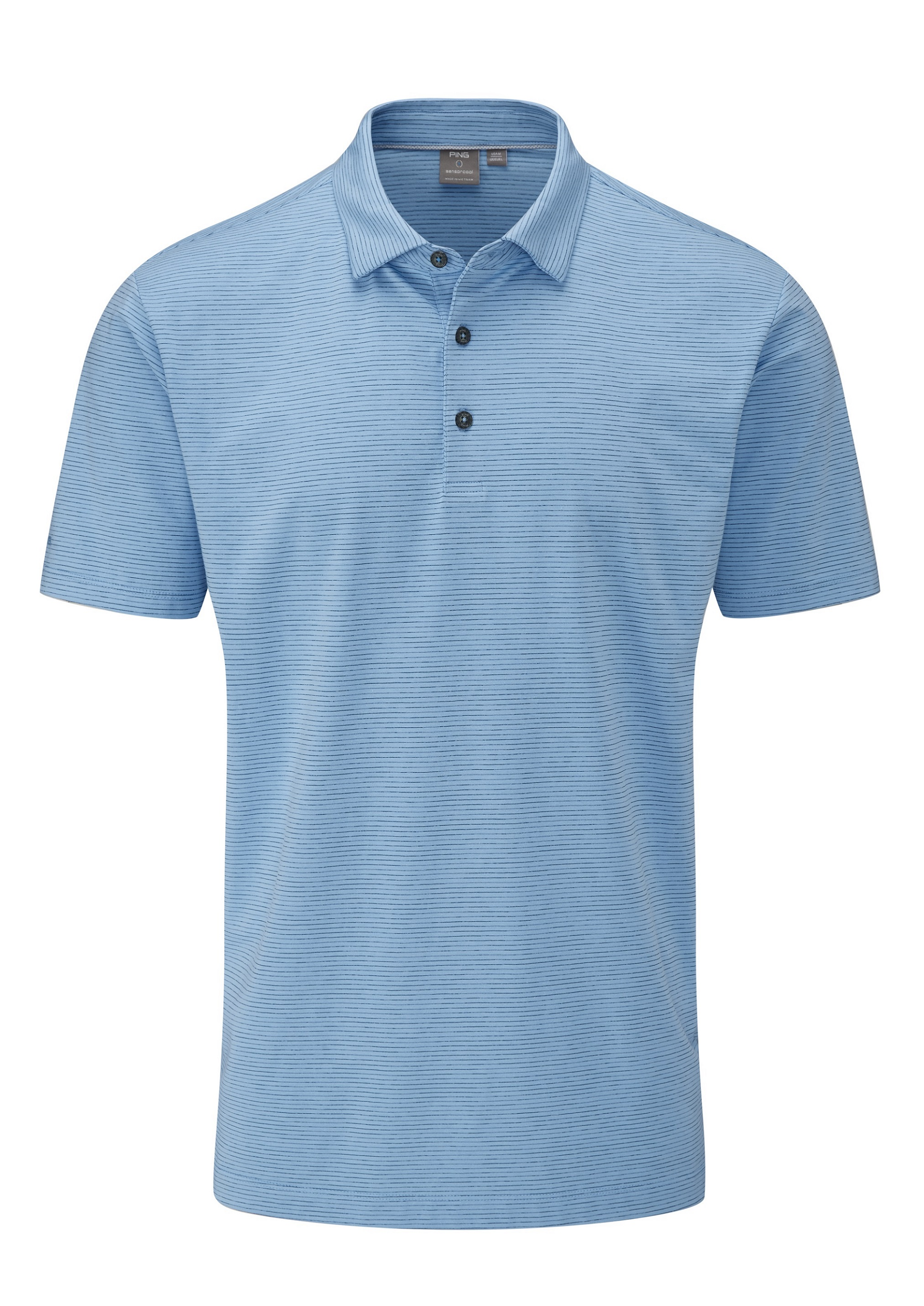 Svalkande vår/sommar-kollektioner från Ping - Raymond. Sensor Cool Cotton engineered with COOLMAX® fabric. Heathered stripe performance polo with permanent moisture-moving properties and a natural soft-cotton feel. Concealed button-down collar. Engineered to keep golfers cool and dry.